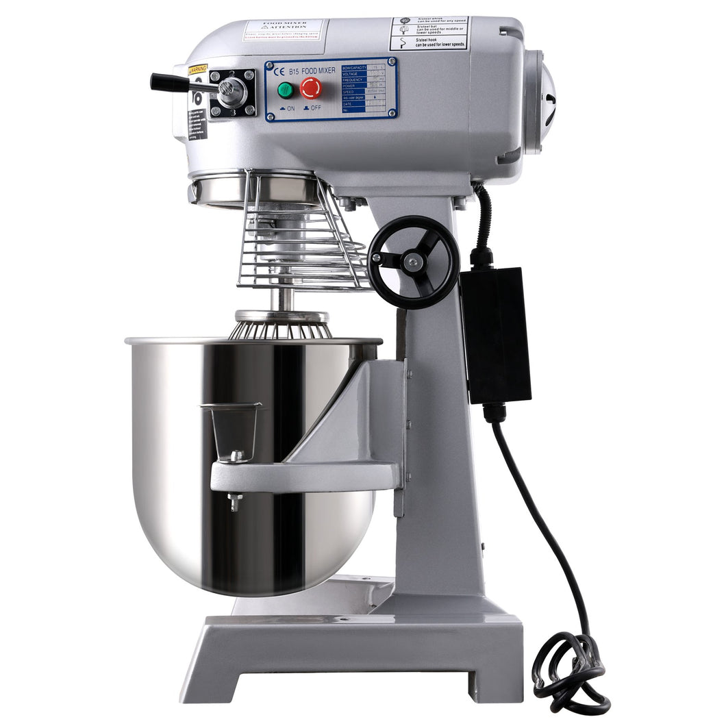 600W 15Qt Commercial Dough Food Mixer Bakery Gear Driven 3 Speed Pizza Bakery - Kaiezen