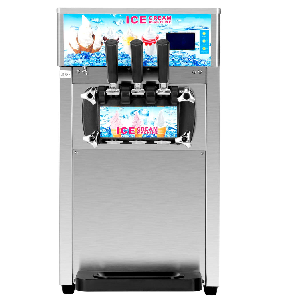 Commercial Soft Serve Ice Cream Machine Stainless Steel 3 Flavors Silver 18L/H Silver SS 1200W - Kaiezen