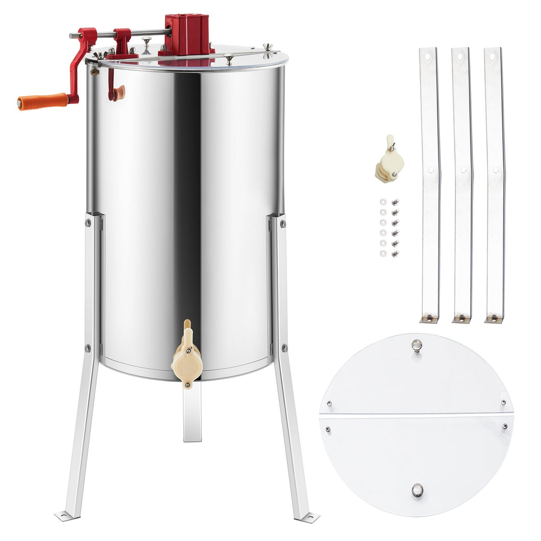 3-Frame Manual Honey Extractor Honeycomb Beekeeping Equipment Adjustable Stands - Kaiezen