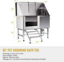 Load image into Gallery viewer, CO-Z 50 Inches Professional Stainless Steel Pet Dog Grooming Bath Tub