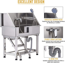 "Load image into Gallery viewer, CO-Z 34"" Professional Elevated Stainless Steel Dog Bath Tub"