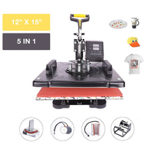 "Load image into Gallery viewer, 12"" X 15"" 360 Degree Swivel Heat Press Machine, 5 in 1 - Kaiezen"