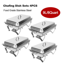 Load image into Gallery viewer, 4 Pack Chafer Chafing Dish Sets 9L/8Q Stainless Steel Pans Catering Full Size - Kaiezen