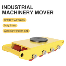 Load image into Gallery viewer, 12 Tons/26400lbs Industrial Machinery Mover w/Dolly Skate Roller 360 Degree Rotation Cap - Kaiezen