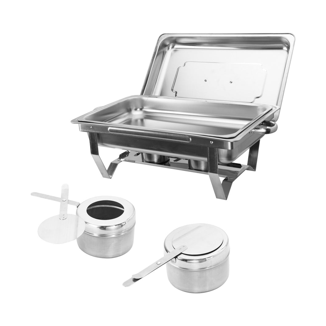 2 Pack Foldable Chafer Chafing Dish Buffet Sets 9L/8Q Stainless Steel Pans Catering - Kaiezen