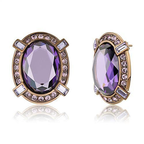 Royal Amethyst Stainless Steel Earrings