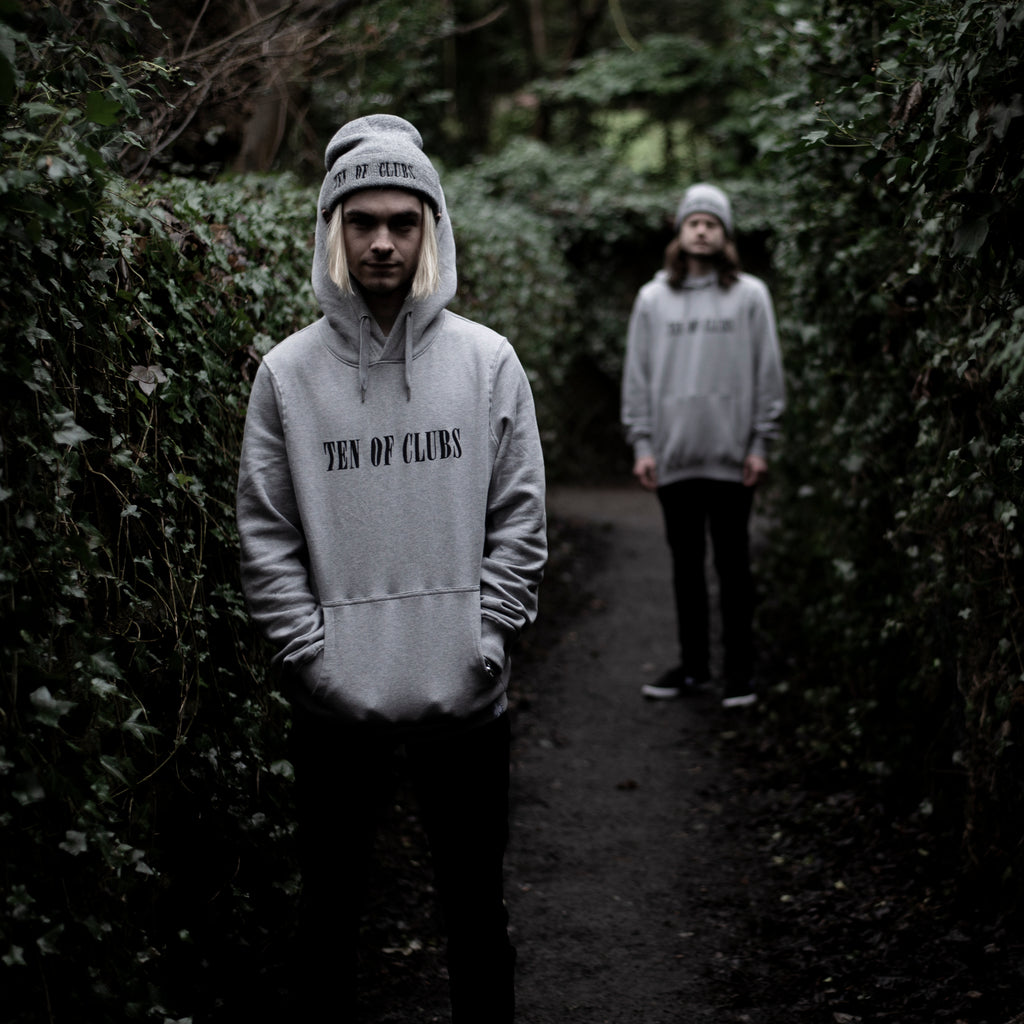 Two men modelling Wave Hoodie Grey from Ten of Clubs