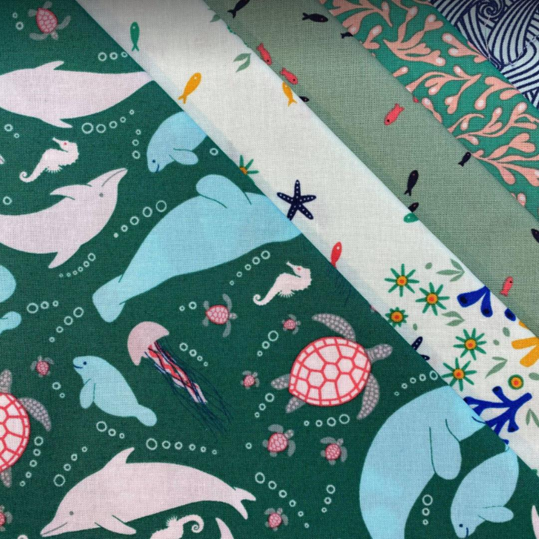 Baby Tia Pack! Green Sea Life (5 - half yard cuts= 2.5 yards
