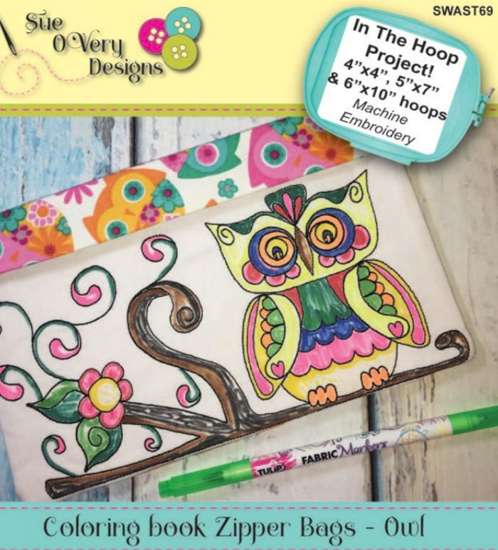 CD Coloring Book Zipper Pouch In the Hoop - Owl (SWAST69)