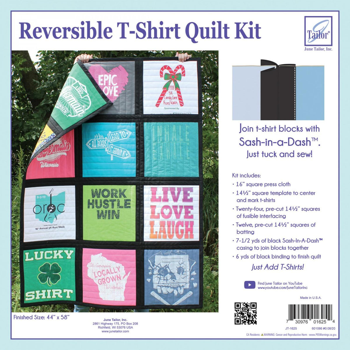 Reversible T-Shirt Quilt Kit Sash-In-A-Dash - BLACK