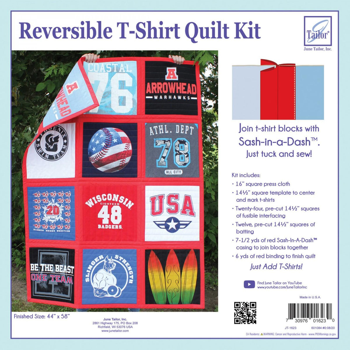 Reversible T-Shirt Quilt Kit Sash-In-A-Dash - RED
