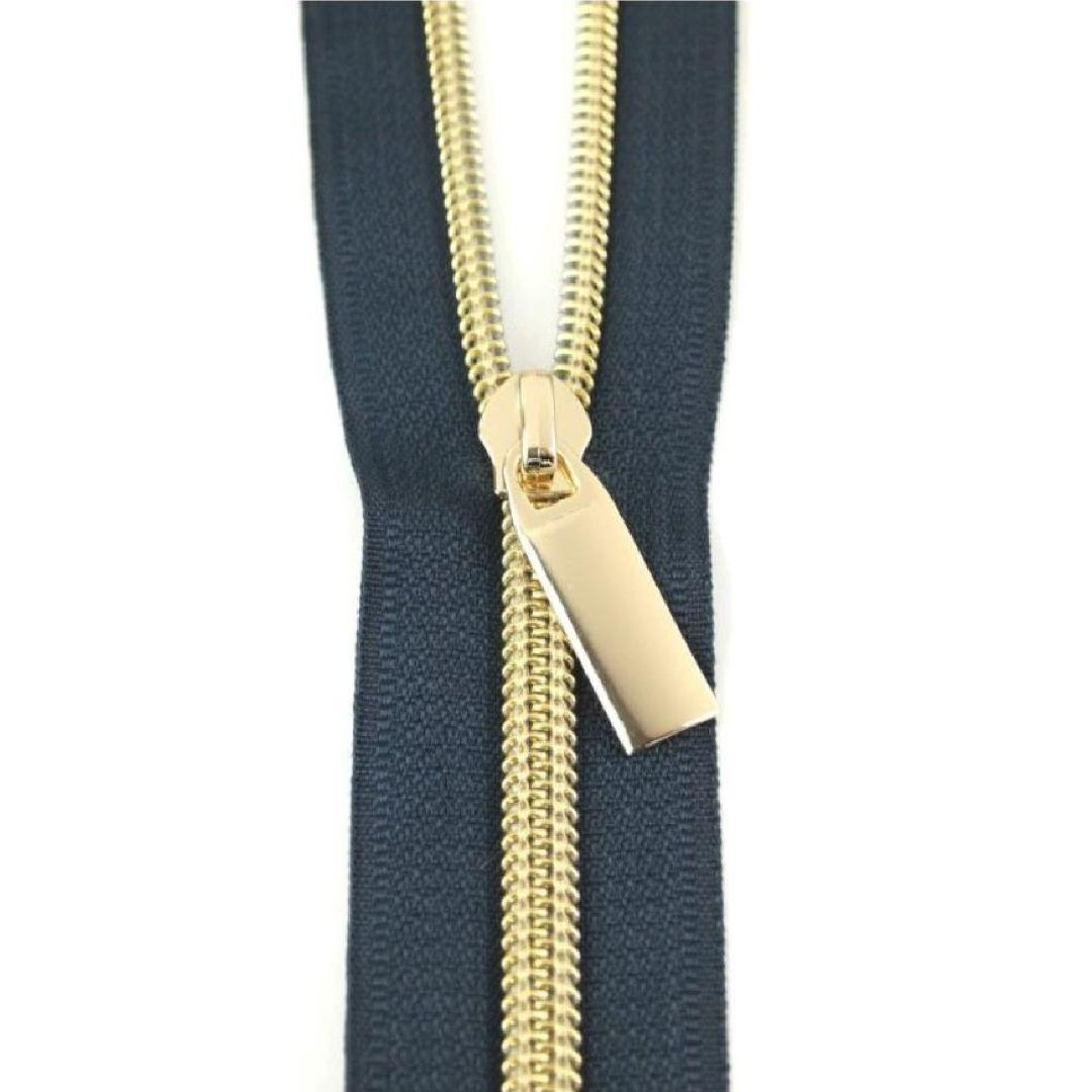 ST Zippers by the Yard Navy Zipper Gold Pulls