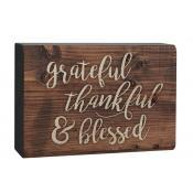 Grateful, Thankful, Blessed Wooden Block Sign