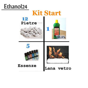 Kit Start 1 Litro Bioetanolo + pietre decorative + 8 essenze + lana di vetro