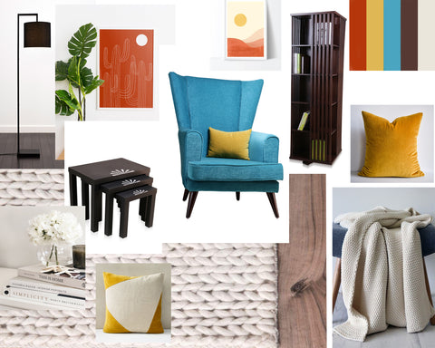 Mood board for a cosy reading nook