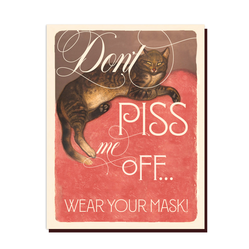 Wear A Mask Cat Card
