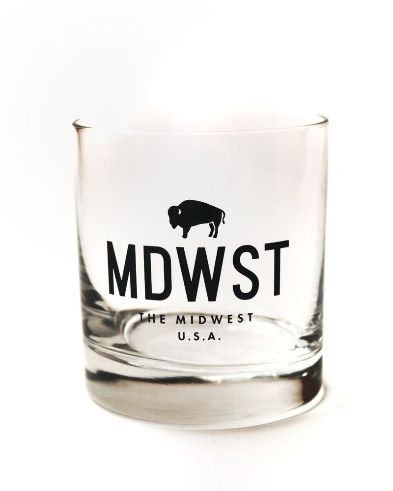Midwest Bison Rocks Glass