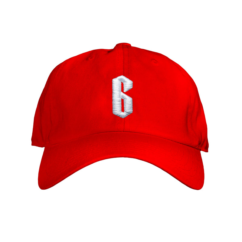 THE RED DAD CAP WHITE SIX
