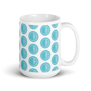Coffee mug with blue log print on white background