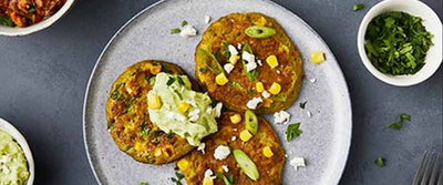 Sweetcorn Fritters with Feta Guacamole and Salsa