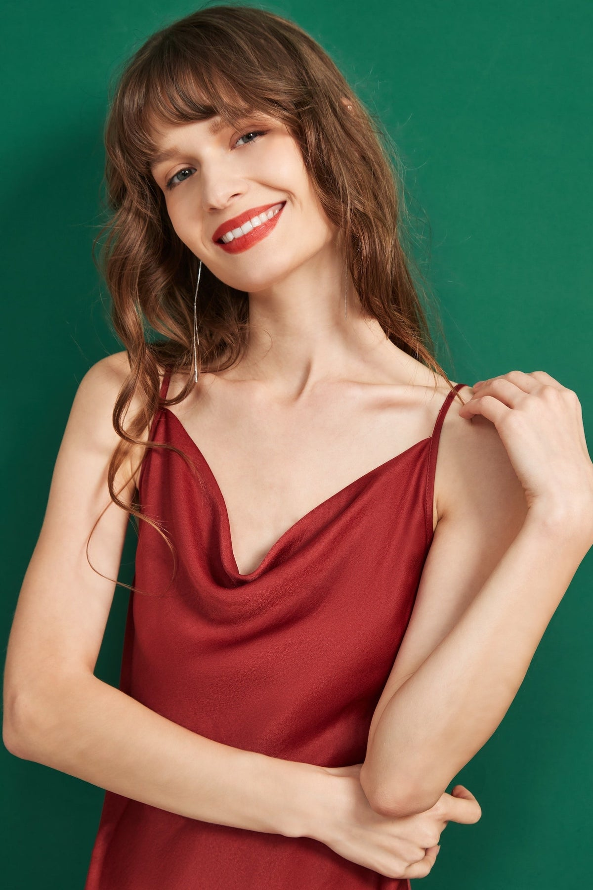 Eden Slip Dress - Festive Red