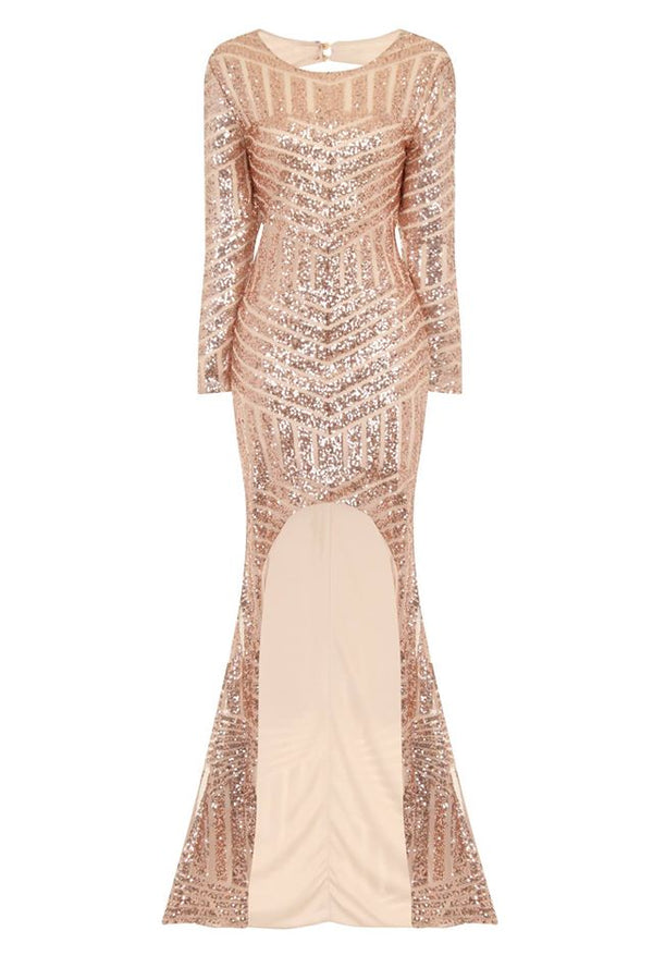 Halo Gold Long Sleeve Sequin Asymmetric Dress