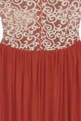 Elia Coral Gold Embrodiered Goddess Grecian Maxi Gown Dress