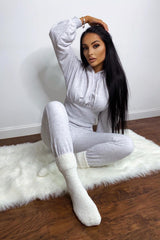 Ari Light Grey Ribbed Waist Hoodie Tracksuit Set
