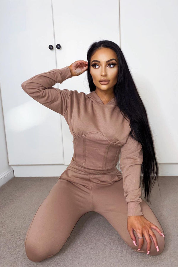 Aliza Taupe Corset Waisted Hoodie Tracksuit Set