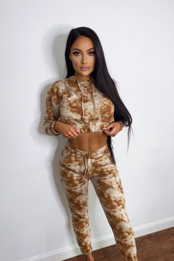 Haven Camel and Beige Two Tone Tie Dye 2 Piece Tracksuit Set