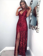 Daphne Burgundy Sheer Luxe Sequin Slit Maxi Dress