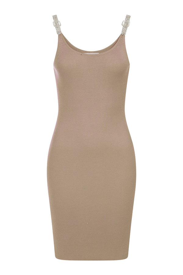 Angelina Beige Diamonte Strap Ribbed Knitted Pencil Midi Bodycon Dress