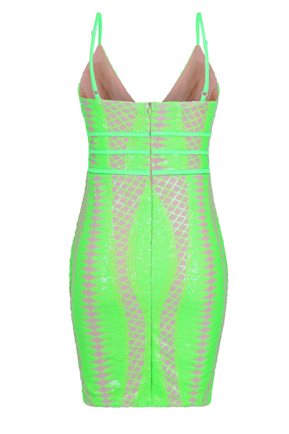 Limelight Neon Green Plunge Cage Sequin Bandage Illusion Mini Dress
