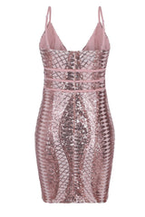 Limelight Rose Gold Nude Plunge Cage Sequin Bandage Illusion Mini Dress