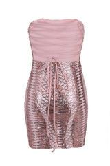 Tie Me Up Rose Gold Bandeau Cage Sequin Bandage Illusion Lace Up Dress