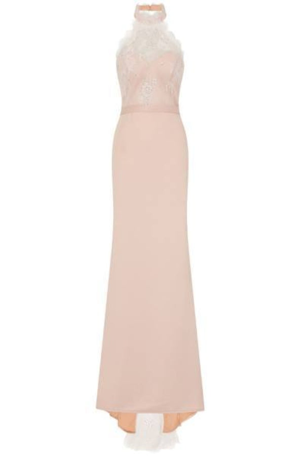 Cleo Luxe Nude Halterneck Diamante Lace Fishtail Maxi Dress