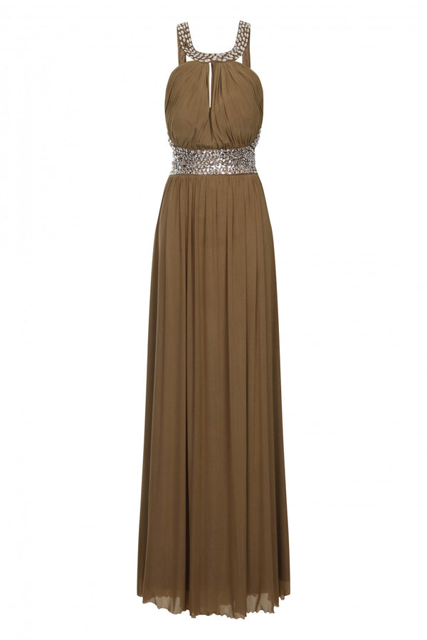 Papya Mocha Maxi Grecian Gown Dress