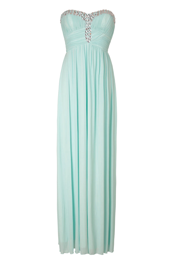 Mia Mint Sweetheart Crystal Bustier Maxi Gown Dress