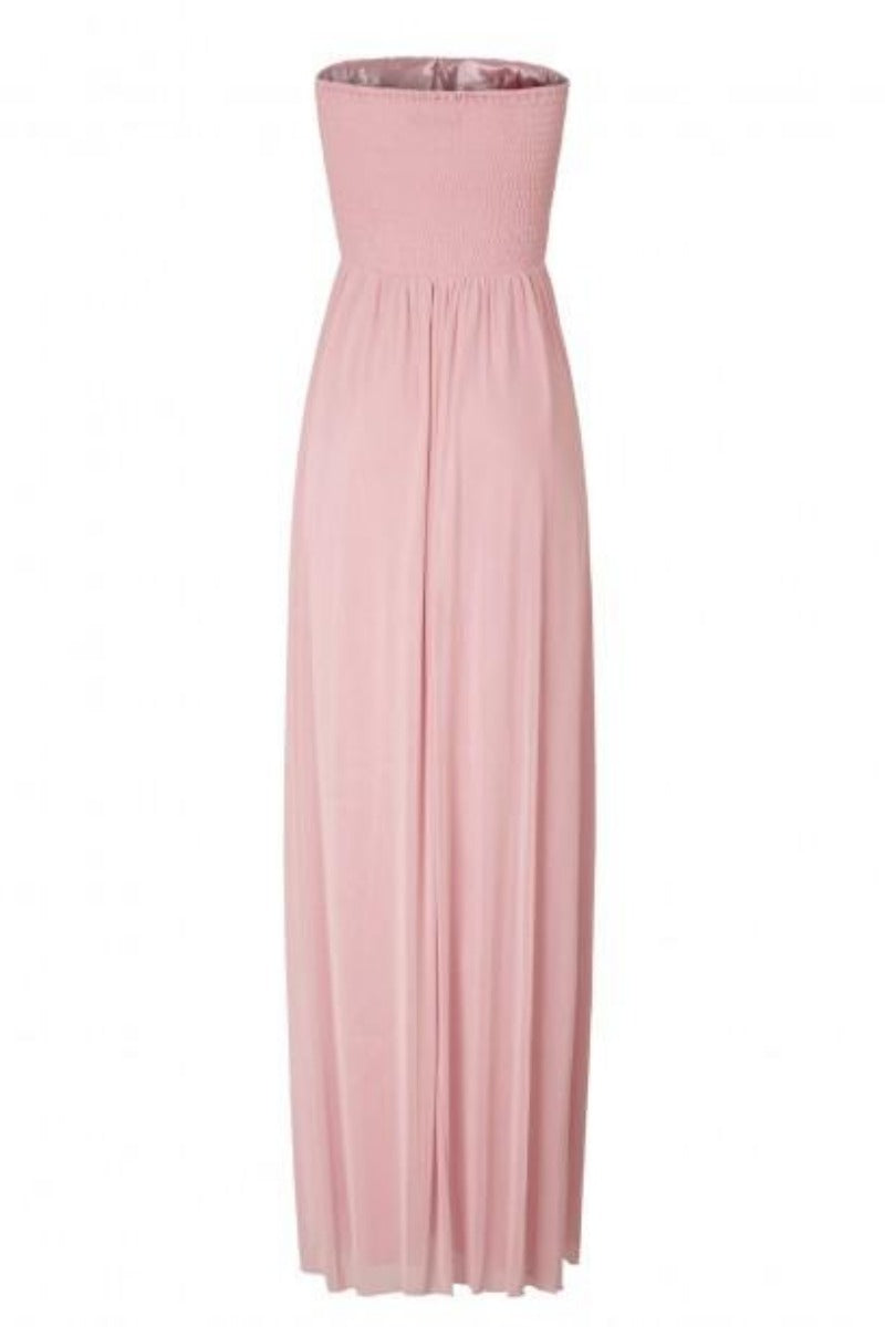 Mia Blush Pink Sweetheart Crystal Bustier Maxi Gown Dress
