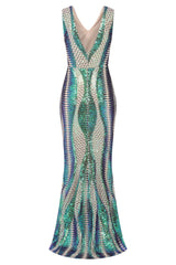 Twilight Green Nude Sequin Bandage Cage Bodycon Maxi Mermaid Dress