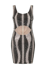 Till Midnight Black Cut Out Sequin Bandage Cage Bodycon Dress