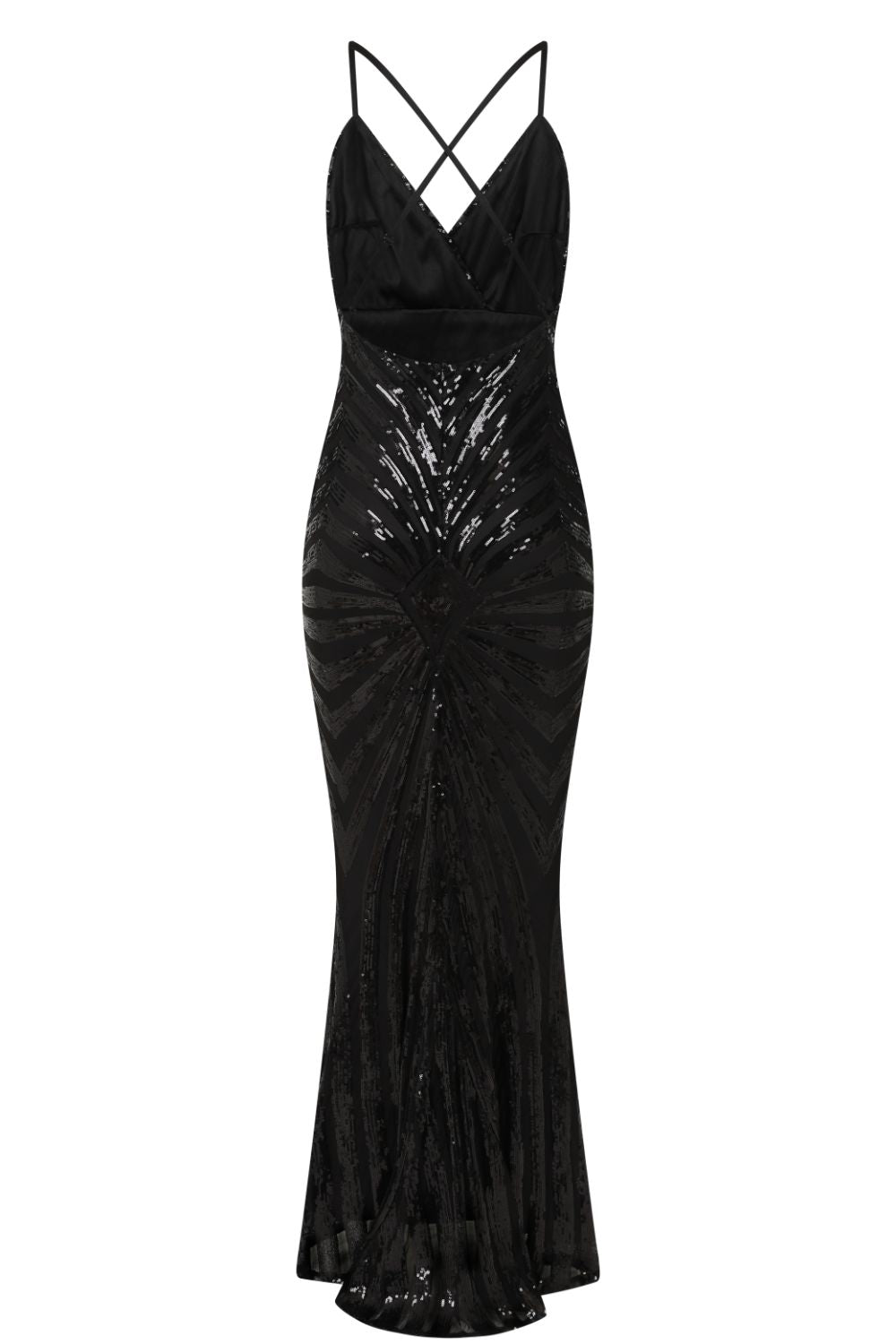 Timeless Black Plunge Sequin Hourglass Illusion Mermaid Maxi Dress