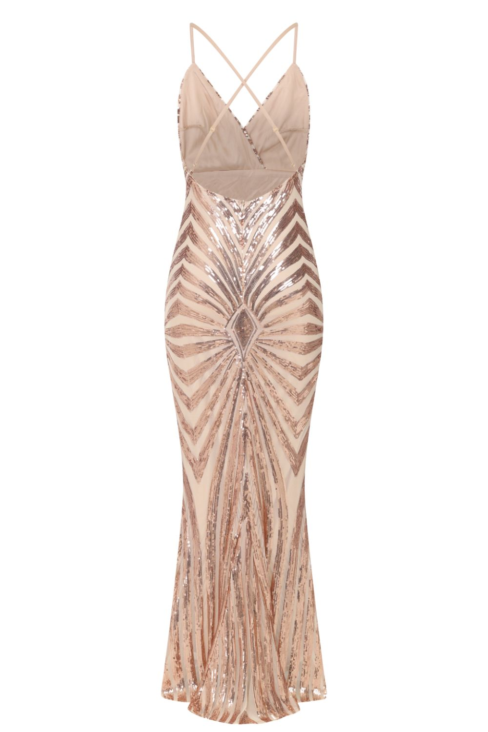 Timeless Rose Gold Plunge Sequin Hourglass Illusion Mermaid Maxi Dress