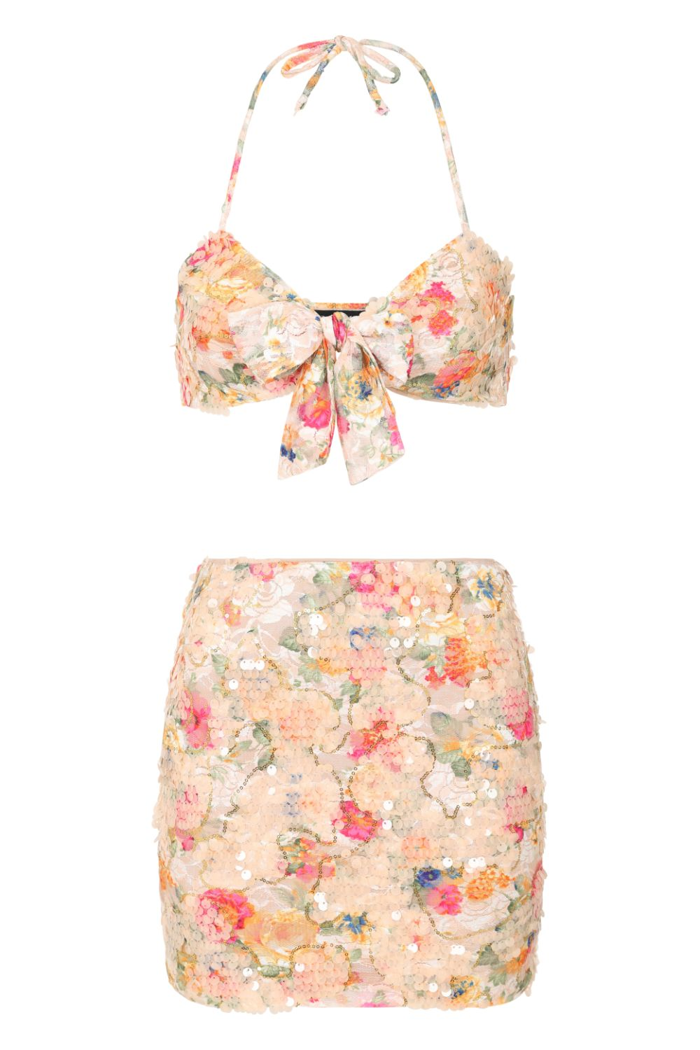 All Ties On You Floral Lace & Nude Sequin Tie Up Two Piece Skirt Top Co Ord Set