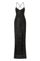 Big Dreams Black Tie Back Sequin Plunge Slit Maxi Dress