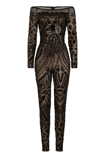 Fatale Black Luxe Illusion Sequin Bardot Mesh Embellished Jumpsuit