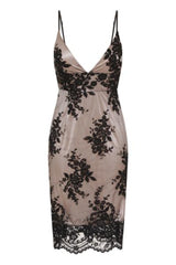 Karla Black Plunge Scalloped Lace Embroidery Midi Dress