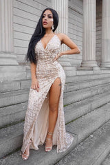 Siren Nude Plunge Gold Sequin Tassel Fringe Thigh Slit Fishtail Dress
