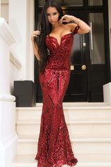 Lovestruck Berry Luxe Sweetheart Off Shoulder Sequin Fishtail Dress