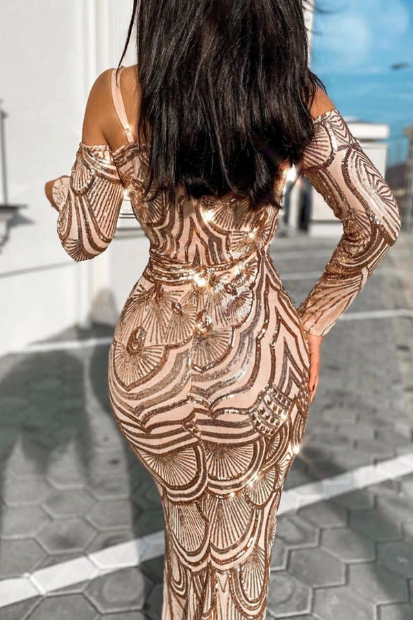 Vienna Rose Gold Luxe Tribal Vip Illusion Sequin Mermaid Maxi Dress